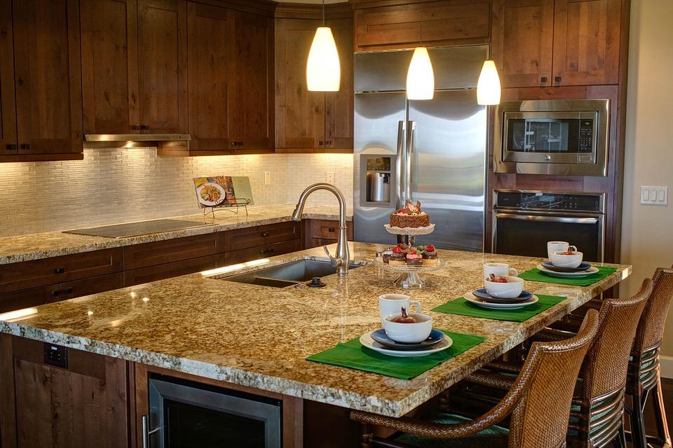 Kuchyně, ostrůvek, barová židle, dřevo, mramor