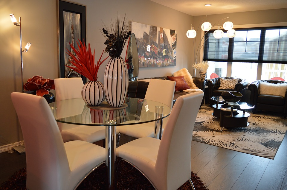 Obývák, moderní, tmavá, křeslo, koberec