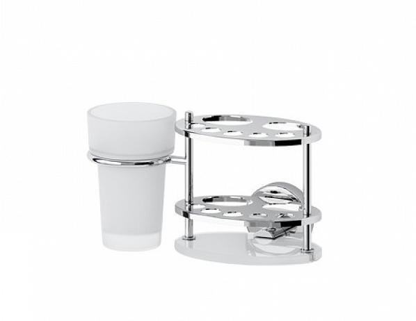 Držák pasty, kartáčků a skleničky – sklo