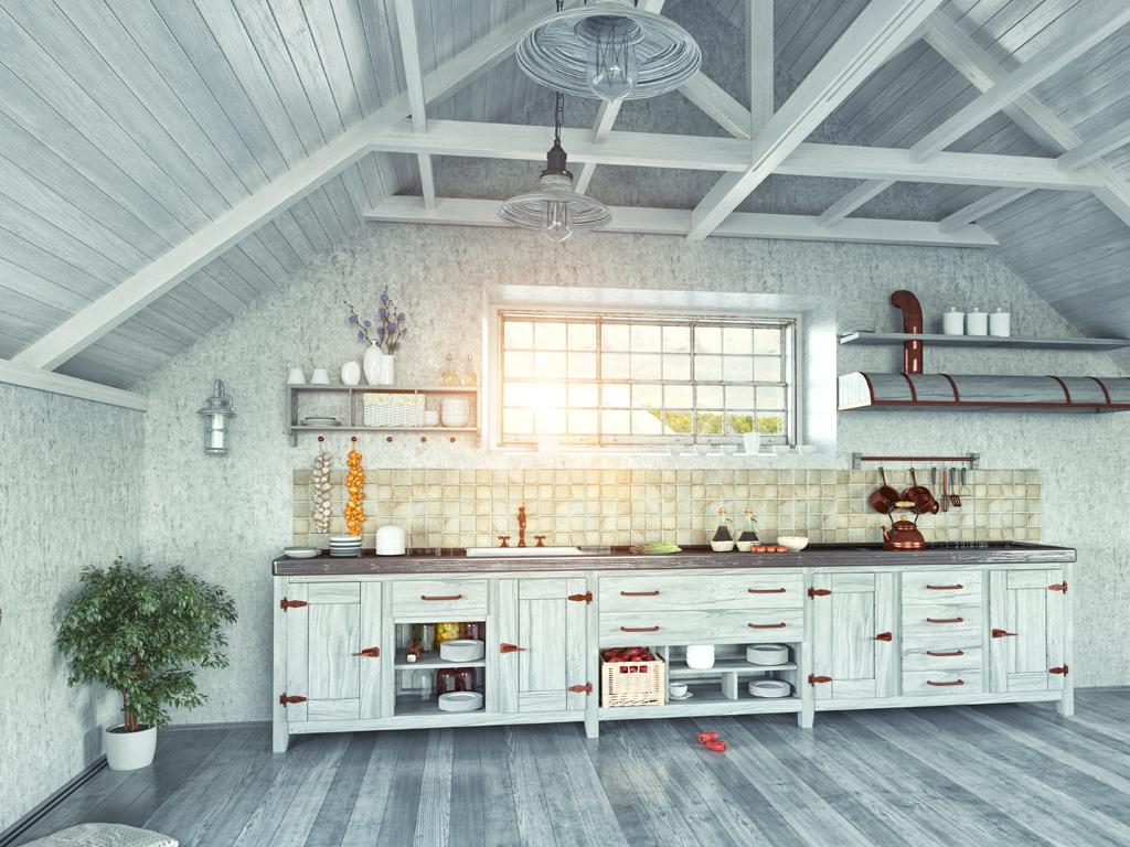 Patinovaná kuchyň pod střechou