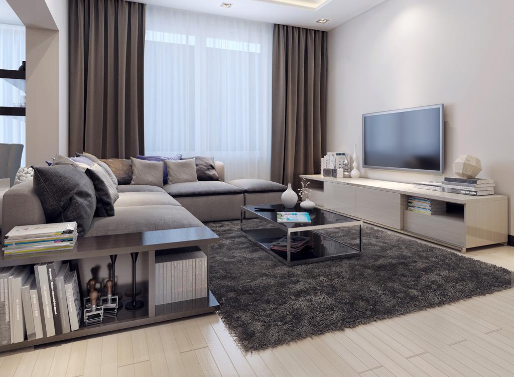 Šedý luxus v obýváku