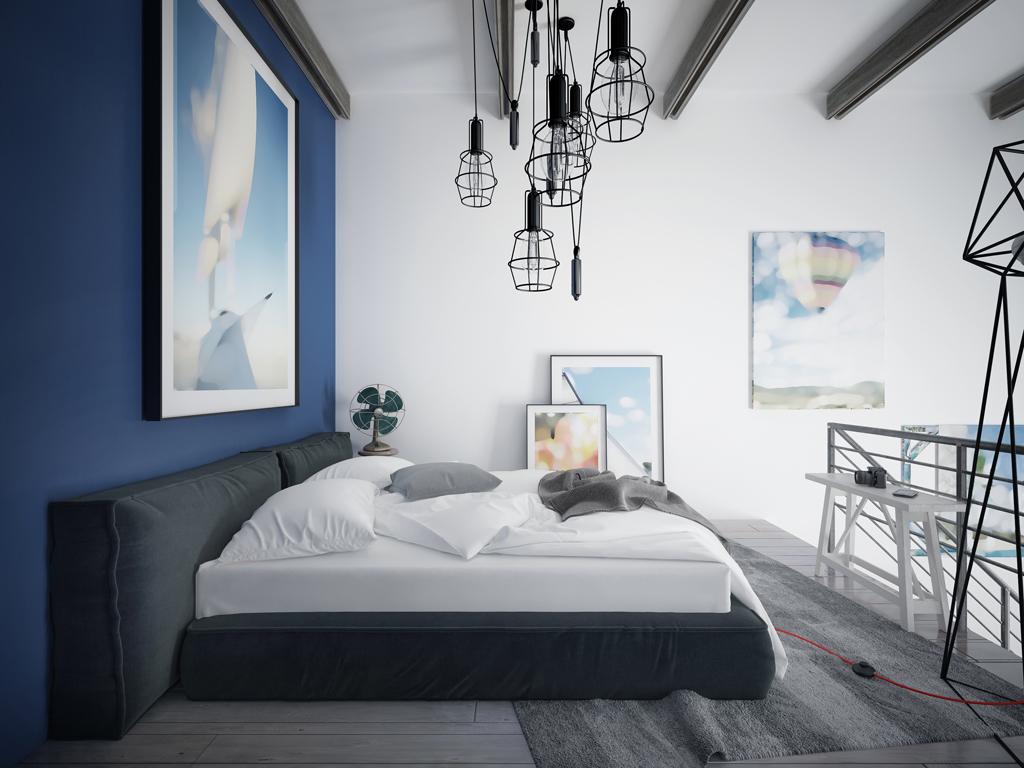 Moderní loftová ložnice