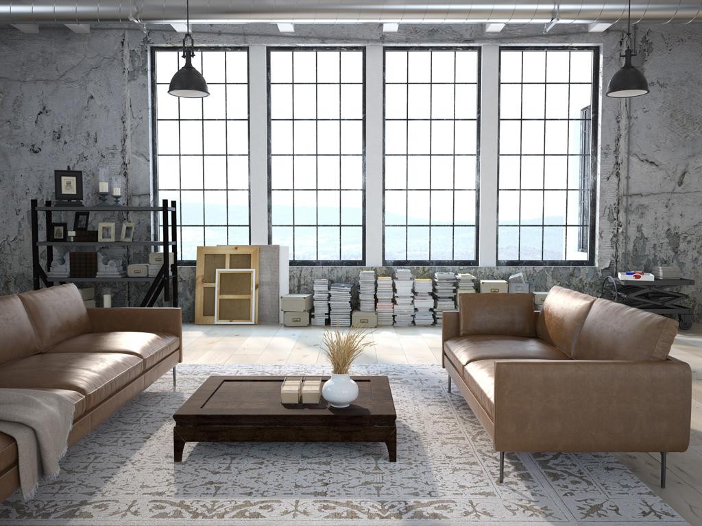 Industriální okna a kožené sedačky