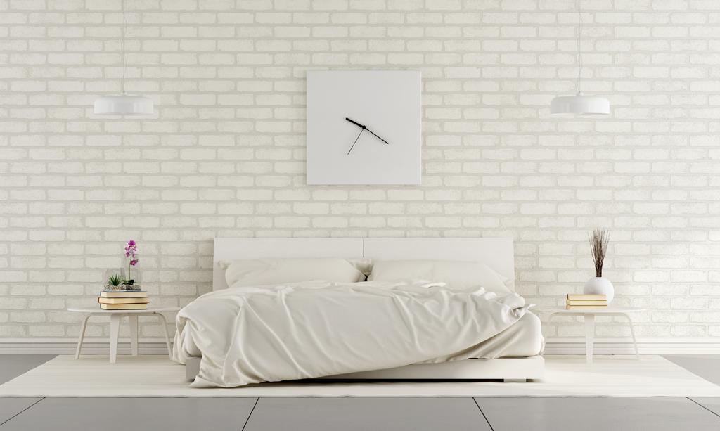 Ložnice se čtvercovými hodinami