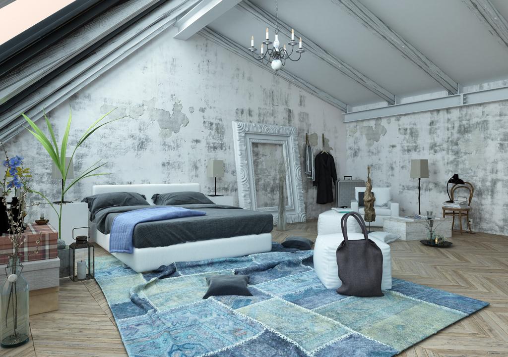 Prostorná ložnice s patinou