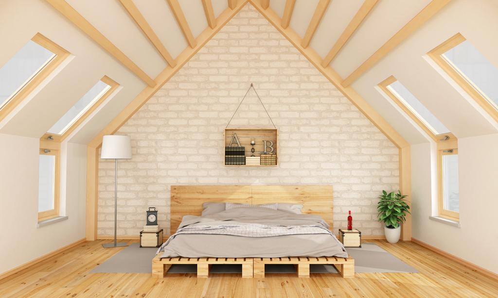 Ložnice v dřevěném hávu