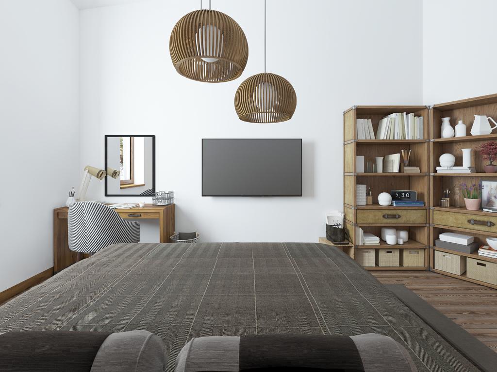Moderní ložnice v přírodním stylu