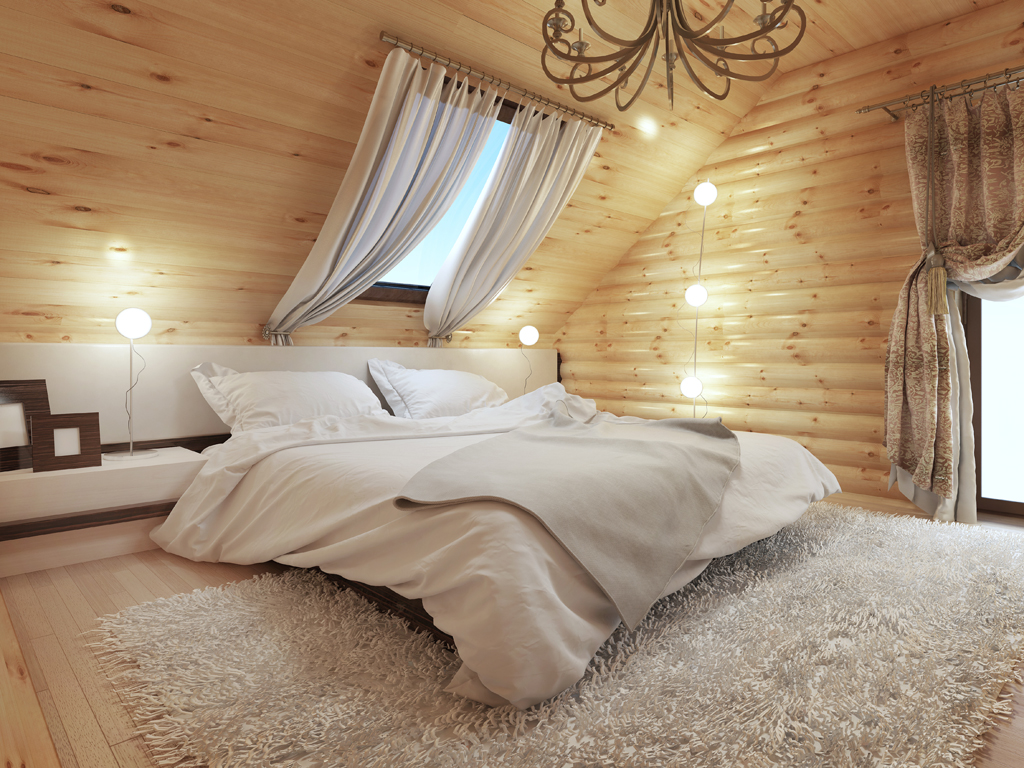 Podkrovní ložnice s dřevěným obložením