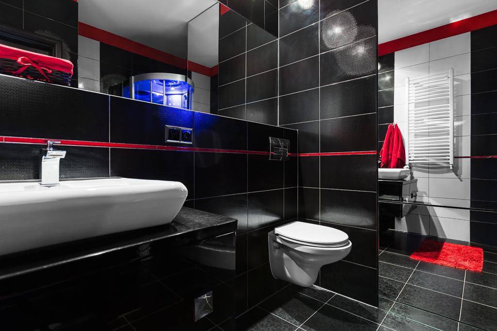 Koupelna s efektním sprchovým koutem