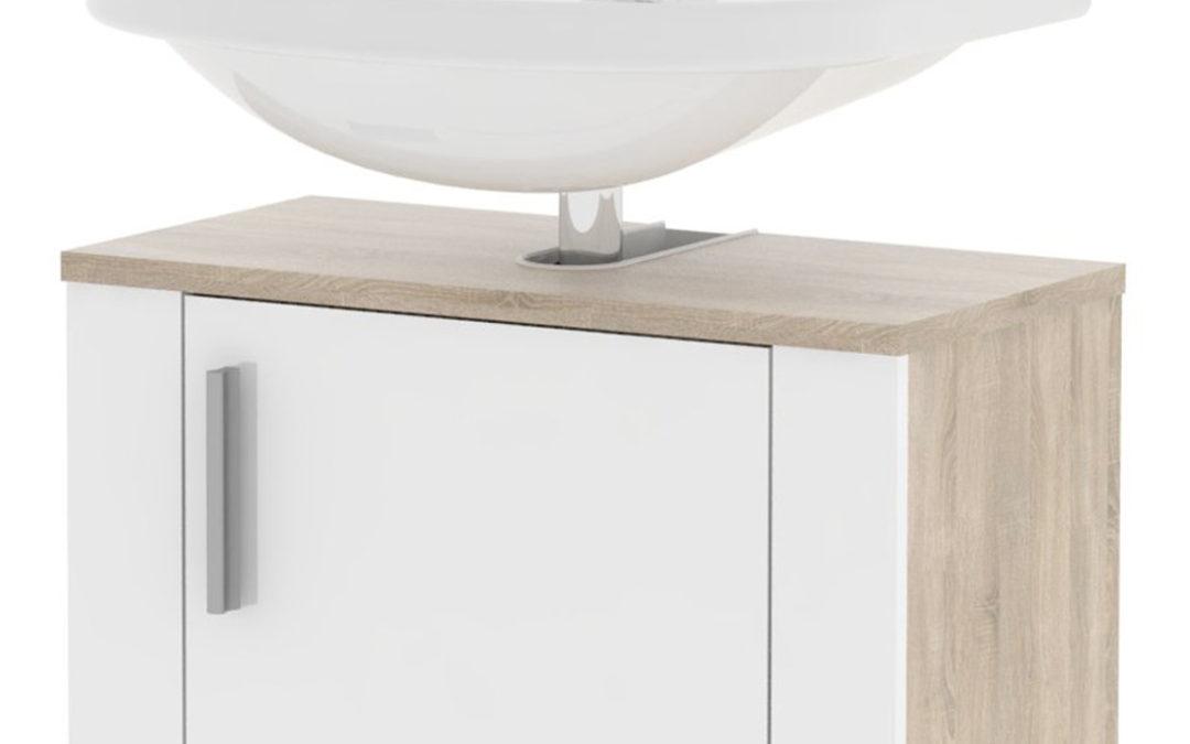 MB DOMUS Koupelnová umyvadlová skříňka LI02 – bez umyvadla MB.LI02 (sonoma světlá/bílá lesklá)