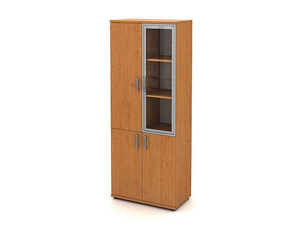 Skříň vysoká 4-dveřová (1 alurám se sklem)