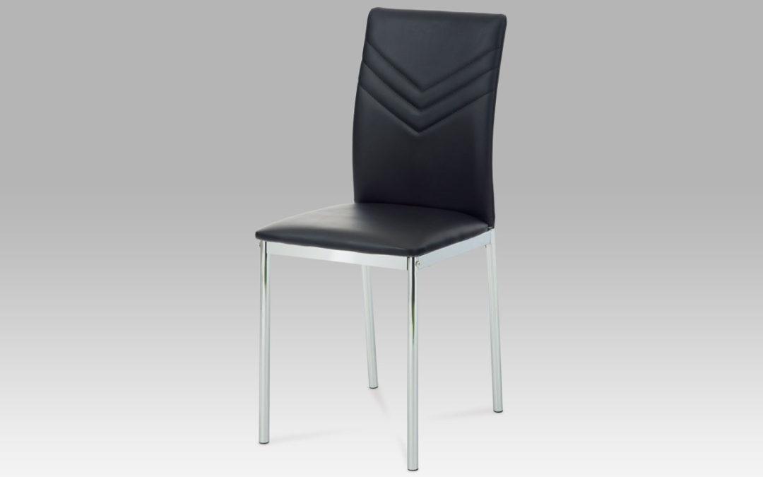 Autronic Jídelní židle, chrom/koženka černá, AC-1280 BK