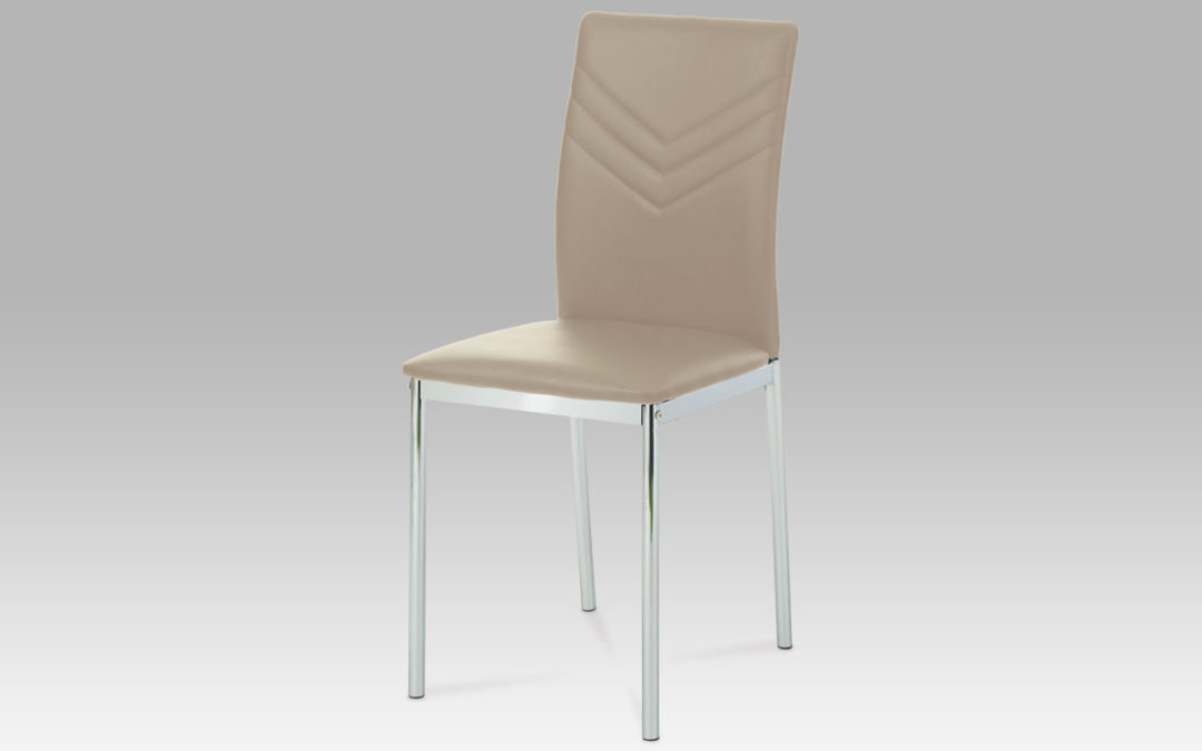Autronic Jídelní židle, chrom/koženka cappuccino, AC-1280 CAP