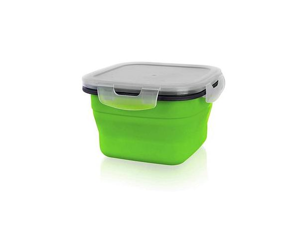 BANQUET Silikonová skládací miska s víčkem 800ml, Culinaria green