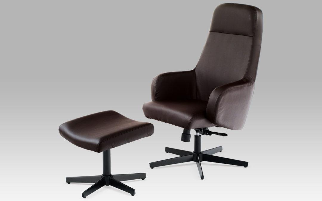 Autronic Relaxační křeslo s taburetem HL-187 BR, černý lak/koženka hnědá