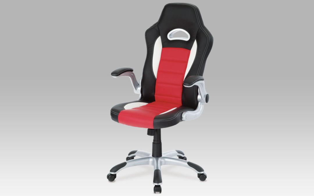 Autronic Kancelářská židle KA-N240 RED, PU černo-červená