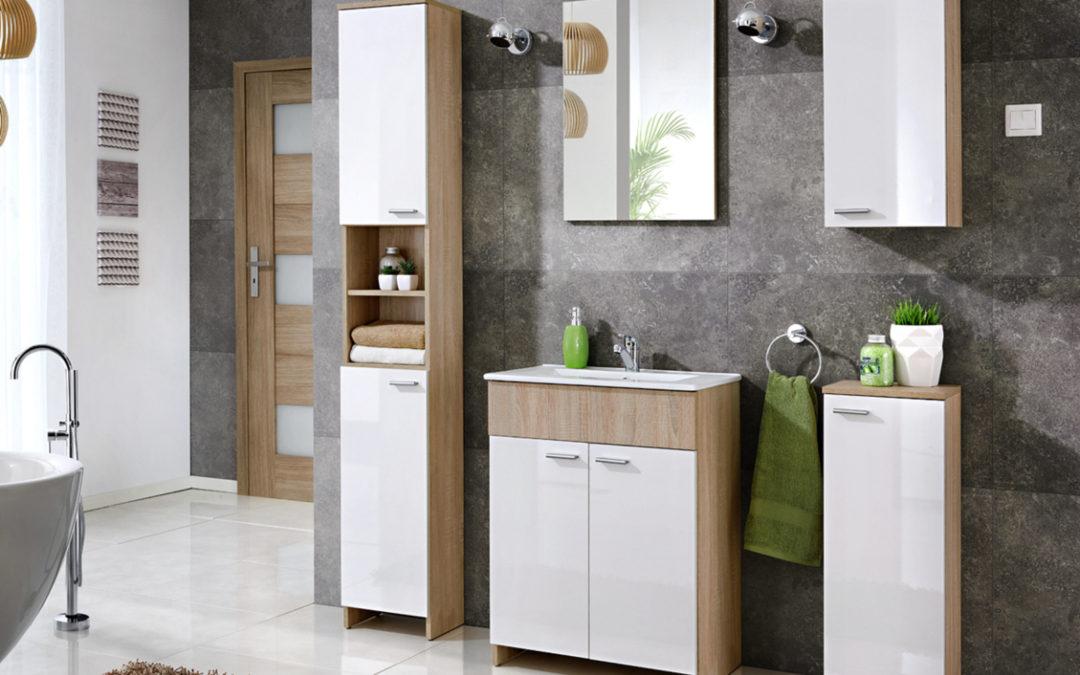 Smartshop PALERMO, koupelnová sestava BEZ UMYVADLA, dub sonoma/bílý mat