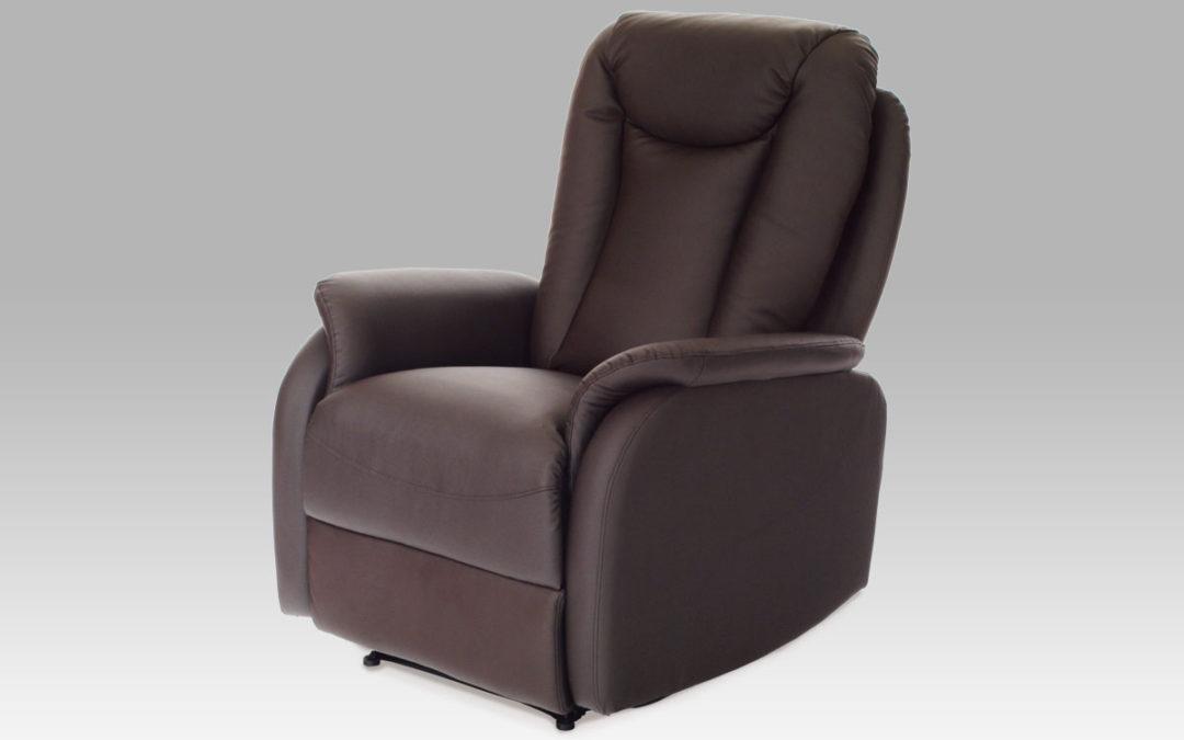Autronic Křeslo relaxační TV-7039 BR, koženka tm. hnědá