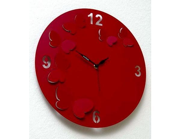 Designové hodiny D&D 206 Meridiana, červený lak