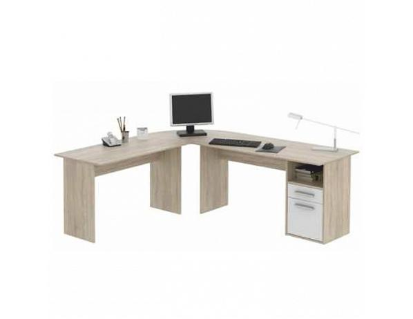 PC stůl – rohový, dub sonoma/bílá, MAURUS MA11