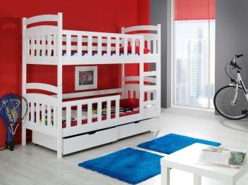 Výprodej – Patrová postel z masivu Radim – moření bílá