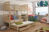 Výprodej – Patrová postel s přistýlkou Aramis – 90 x 200 cm, borovice