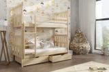 Výprodej – Dětská patrová postel Katy z masivu – moření buk, 90 x 200 cm