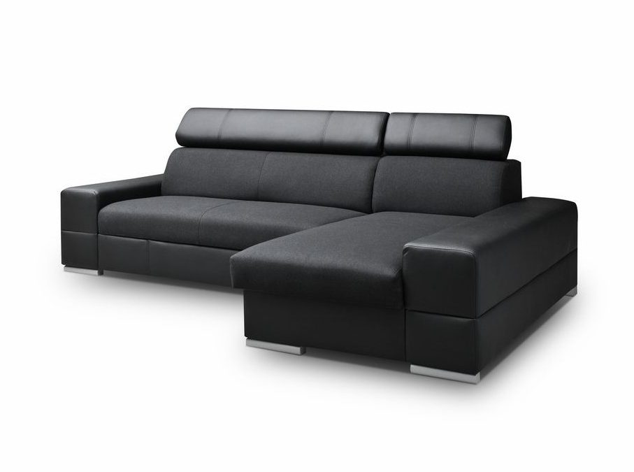 Smartshop Rohová sedačka CORTINA 3 pravá, černá látka/černá ekokůže