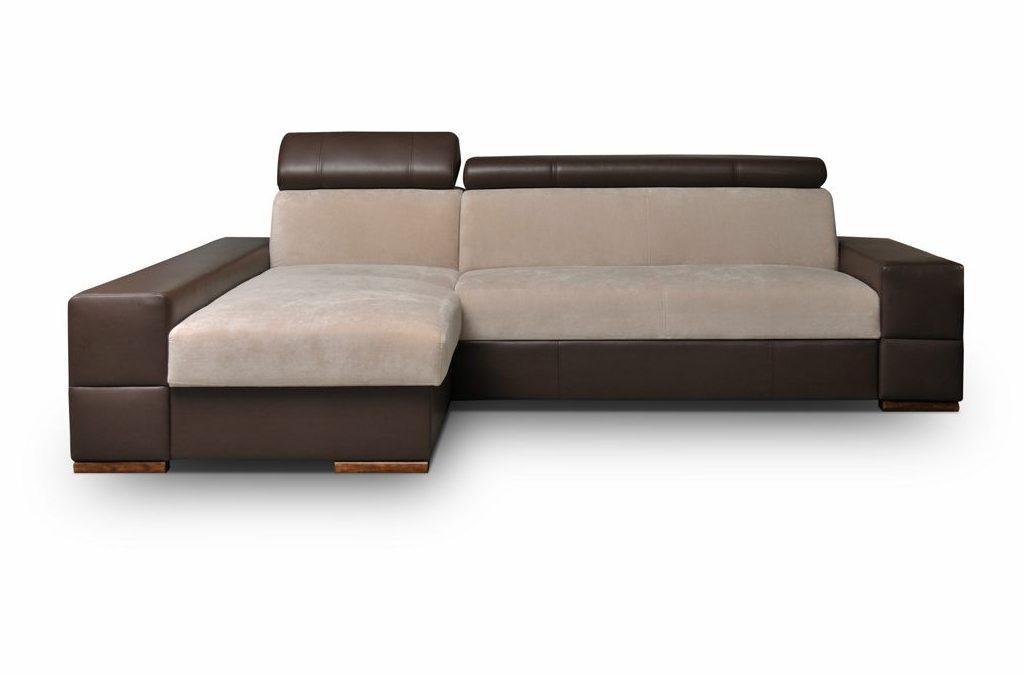 Smartshop Rohová sedačka CORTINA 4 levá, krémová látka/hnědá ekokůže