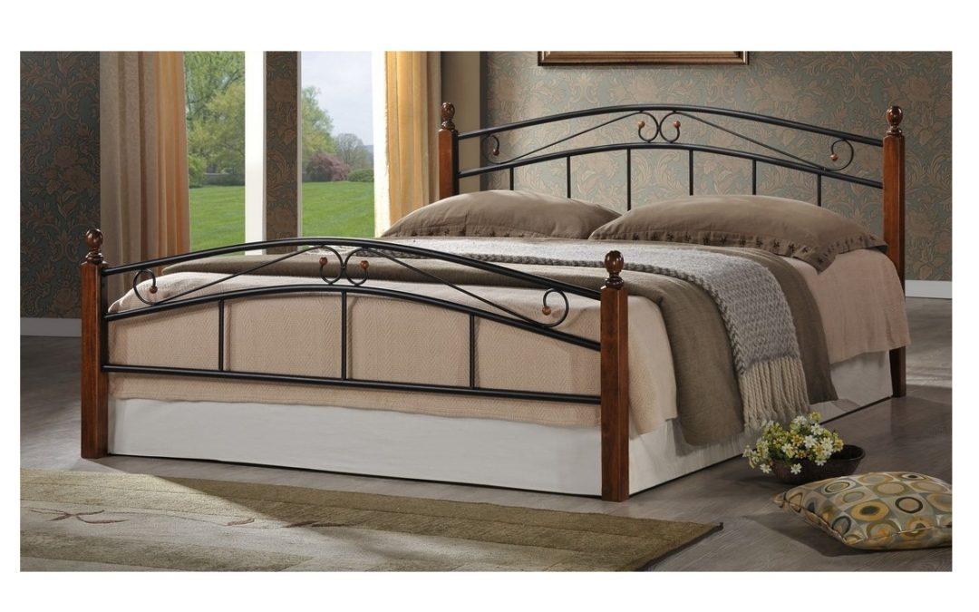 Smartshop CRETA, postel 180×200 cm s roštem, masiv/kov, třešeň antická