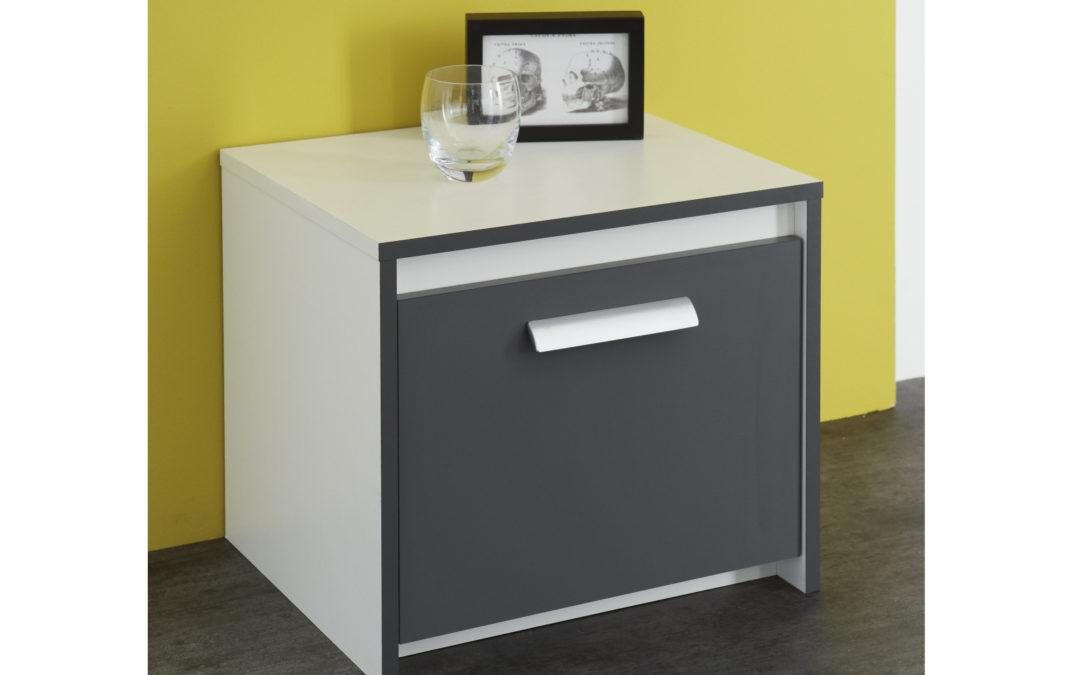 DEMEYERE GIORGE, noční stolek, bílá/grafit DOPRODEJ