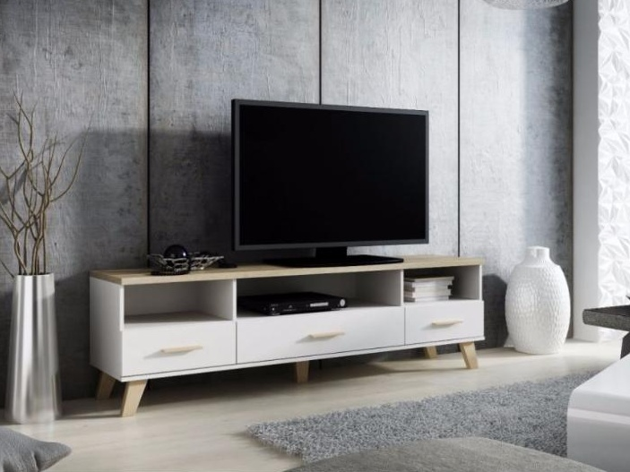 CAMA LOTTA televizní stolek RTV 180 3S3K, bílá/dub sonoma