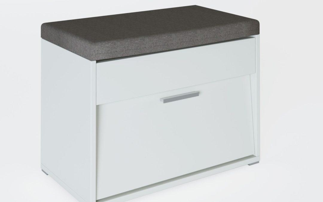 Smartshop Botník VIOLA, bílý + šedý polštářek