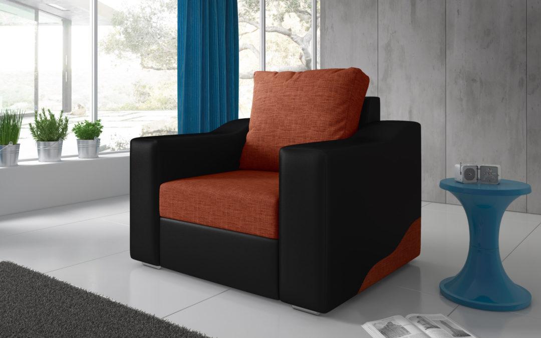 Smartshop Křeslo WILLIAM 4, oranžová látka/černá ekokůže