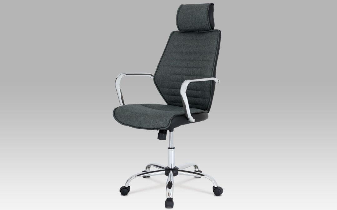 Autronic Kancelářská židle KA-T203 GR2, šedá látka/černá koženka