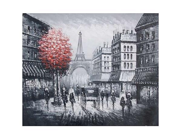 Obraz – Paříž s červeným stromem