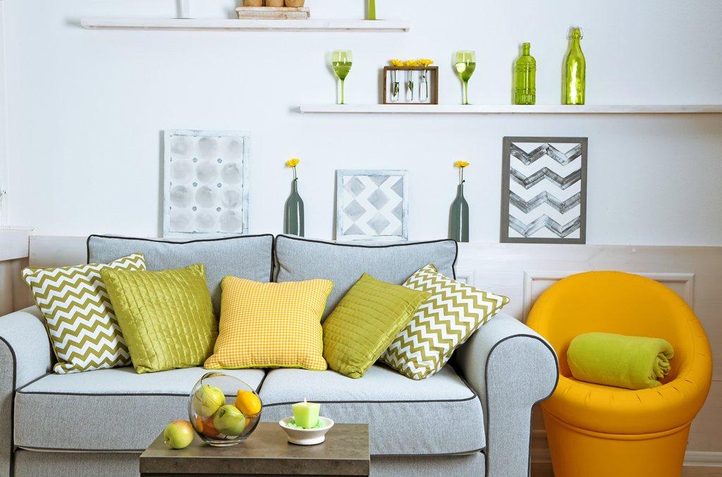 Obývací pokoj s nádechem jara