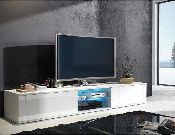 TV stolek Hit, bílá-bílý lesk