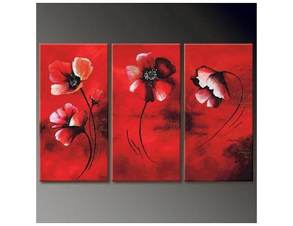 Vícedílné obrazy – Červené květiny