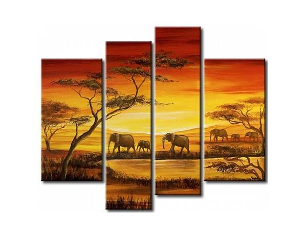 Vícedílné obrazy – Stádo slonů
