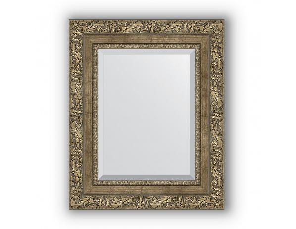 Zrcadlo s fazetou v rámu, ornament antická mosaz