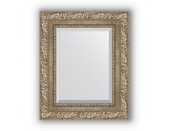 Zrcadlo s fazetou v rámu, ornament antické stříbro