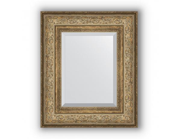 Zrcadlo s fazetou v rámu, ornament antický bronz 109 mm