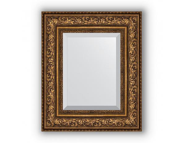 Zrcadlo s fazetou v rámu, patinovaný bronzový ornament 109 mm