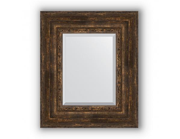 Zrcadlo s fazetou v rámu, patinovaný dřevěný ornament