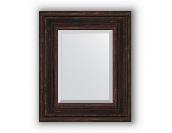 Zrcadlo s fazetou v rámu, tmavý provensálský dekor
