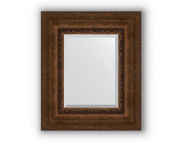 Zrcadlo s fazetou v rámu, patinovaný bronzový ornament 120 mm