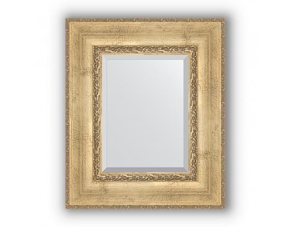 Zrcadlo s fazetou v rámu, patinovaný stříbrný ornament 120 mm